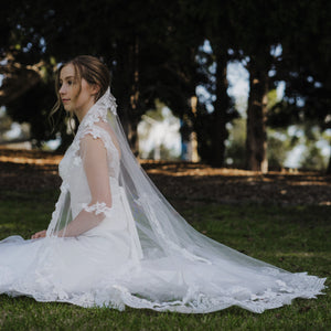 Mariah one tier floral lace ivory waltz wedding bridal veil