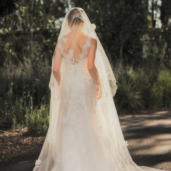 Marjorie one tier sequin lace ivory cathedral wedding bridal veil