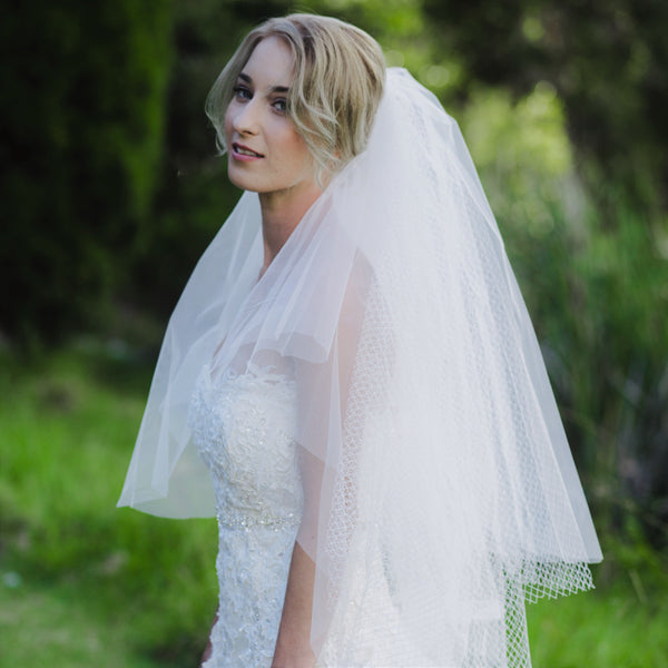 AIDANE VEIL Multi Tier Grid Tulle Fingertip Bridal Veil Wedding Veil | Mademoiselle Bridal