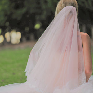 Ambrosia two tier lace applique blush pink cathedral wedding bridal veil