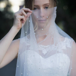 Angelica one tier pearl ivory cathedral wedding bridal veil