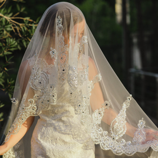 Audree two tier sequin lace embroidery rhinestone ivory royal wedding bridal veil