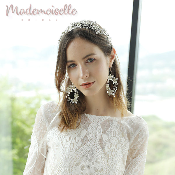 Elowyn Bridal Floral Wreath Earrings