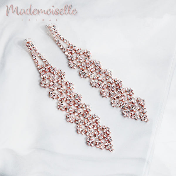 Ensley Bridal Rose Gold Earrings