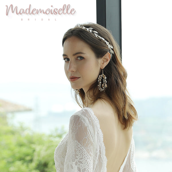 Evie Bridal Crystal Wreath Earrings