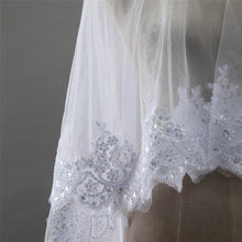 Rosalyn two tier sequin lace applique ivory chapel wedding bridal veil with blusher