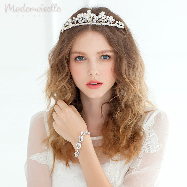 CRYSTAL BRIDAL TIARA HEADBAND WITH PEARLS