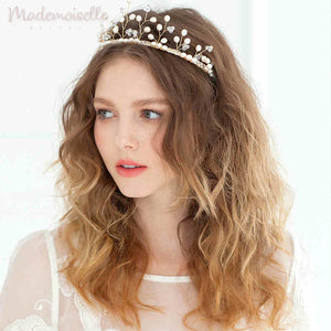 Pearl Branches with Rhinestones Tiara