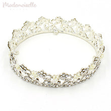 CLASSIC CRYSTAL BRIDAL CROWN TIARA WITH PEARLS