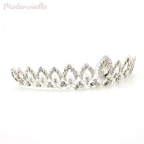 CLASSIC CRYSTAL BRIDAL TIARA WITH PEARLS