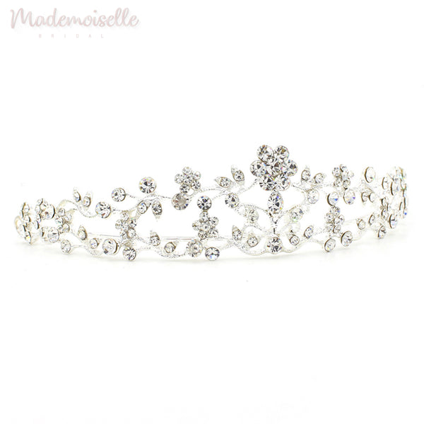 CLASSIC CRYSTAL BRIDAL TIARA WITH FLORAL DESIGN