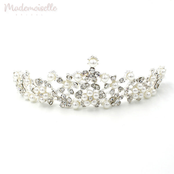 CRYSTAL BRIDAL TIARA CROWN WITH PEARLS