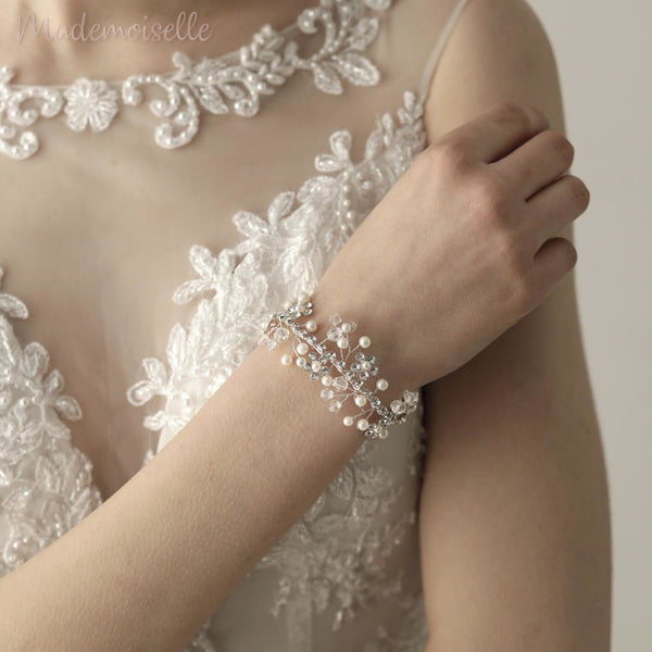 Pearl Crystal Wrist Corsage