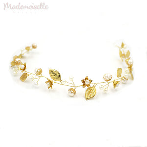 Golden Leaves Floral Hair Vine