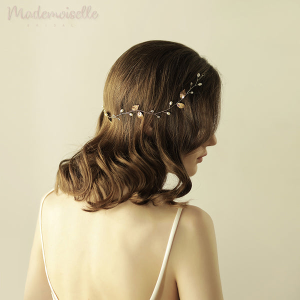 Classic Pearls and Leaves Hair Vine