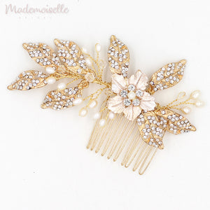 Crystal Leaves Pin and Comb Set