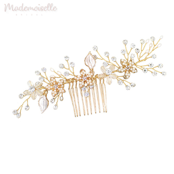Floral and Crystal Comb