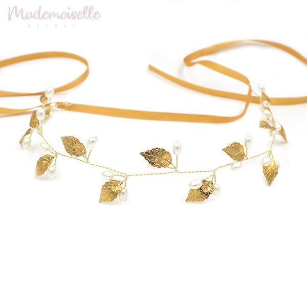 Golden Leaves Pearl Hair Vine