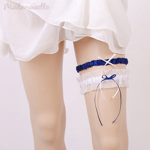 Classic Satin and Lace Garter Set