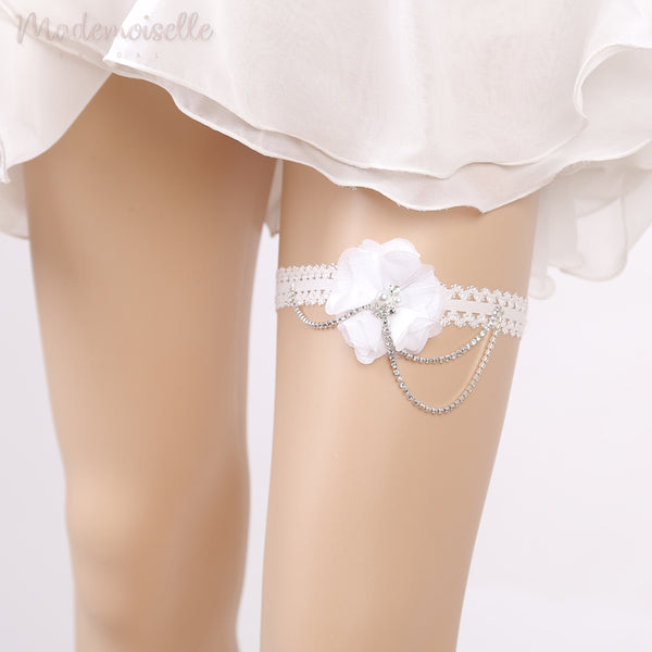 Lace Garter with Rhinestone Chains