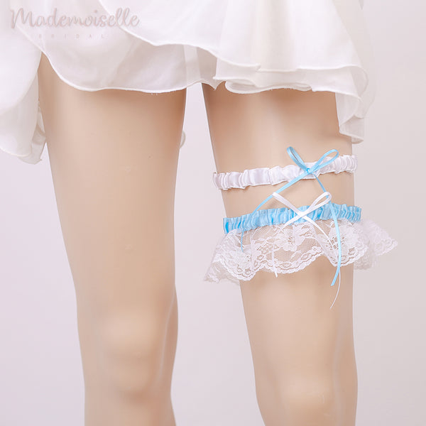 Princess Satin and Lace Garter Set