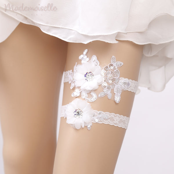Applique and Sequin Lace Garter Set