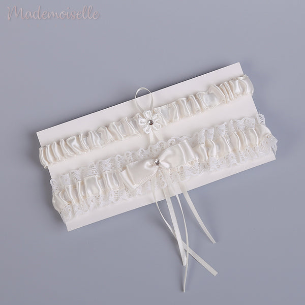 Vintage Lace and Satin Garter Set
