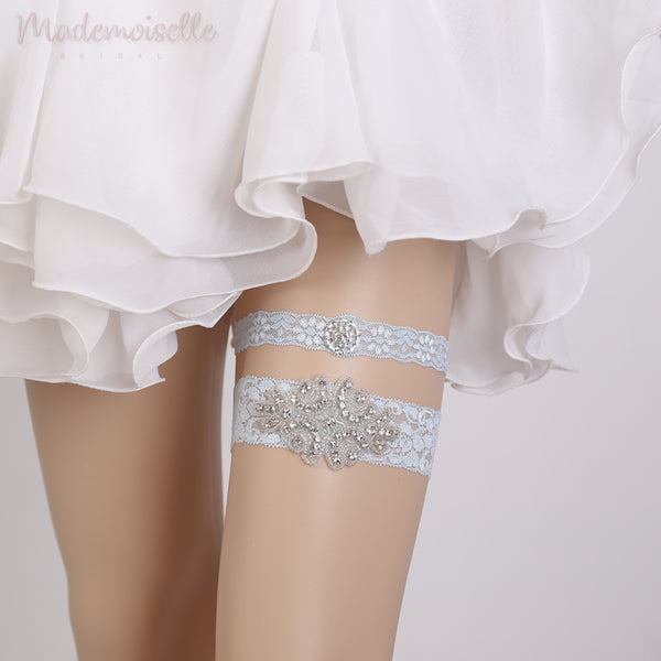 French Lace and Rhinestones Garter Set