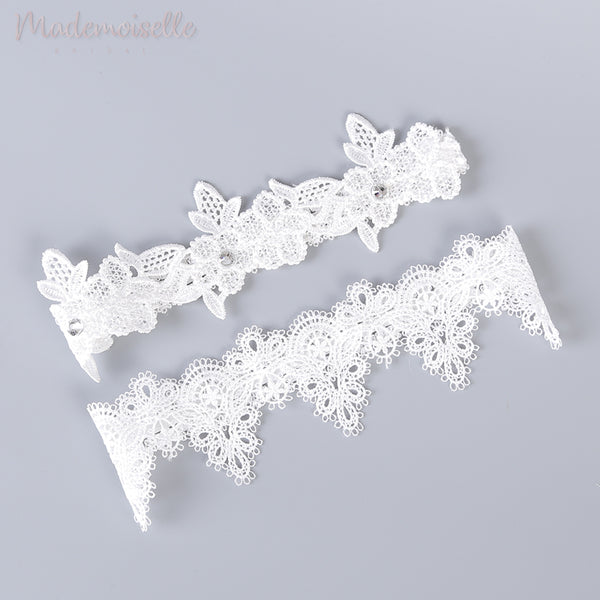 Embroidery Lace with Rhinestones Garter Set