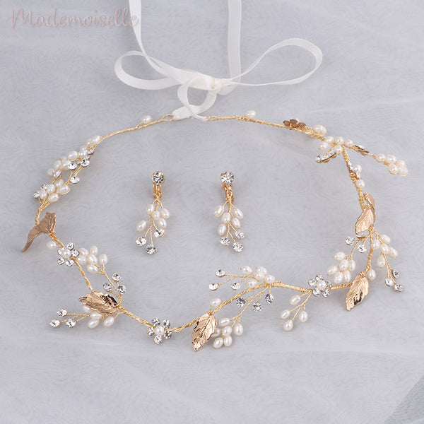 Golden Memories Pearl Ribbon Vine with Earrings