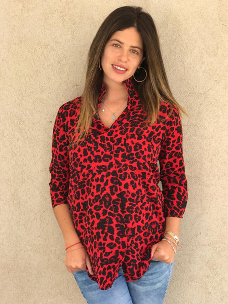 Tailored Blouse - Tiger Red
