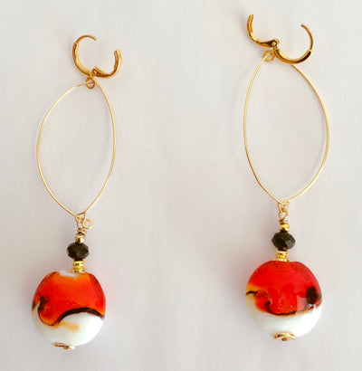Two-Tone Hoop Drop Earrings