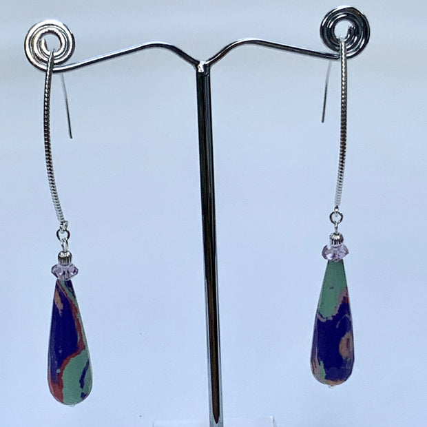 Multi-Color Tear-Drops Gemstones with French Hook