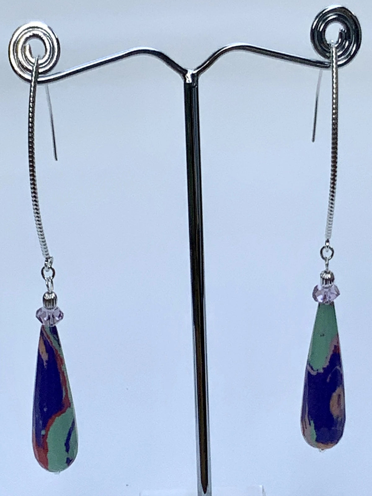Tear-Drop Gemstones Dangle Earrings