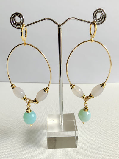 Hoop Earrings with Drop Blue Stone