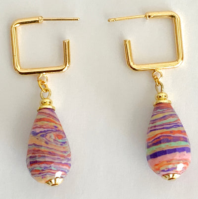 Multi-color Tear-Drop Gemstones Drop Earrings