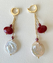 Pearl and Gemstone Drop Earrings