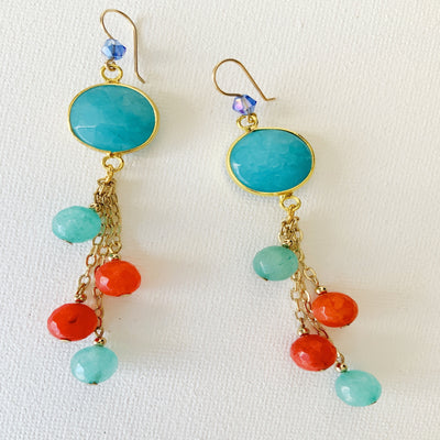 Multi-Color Chandelier Drop Earrings