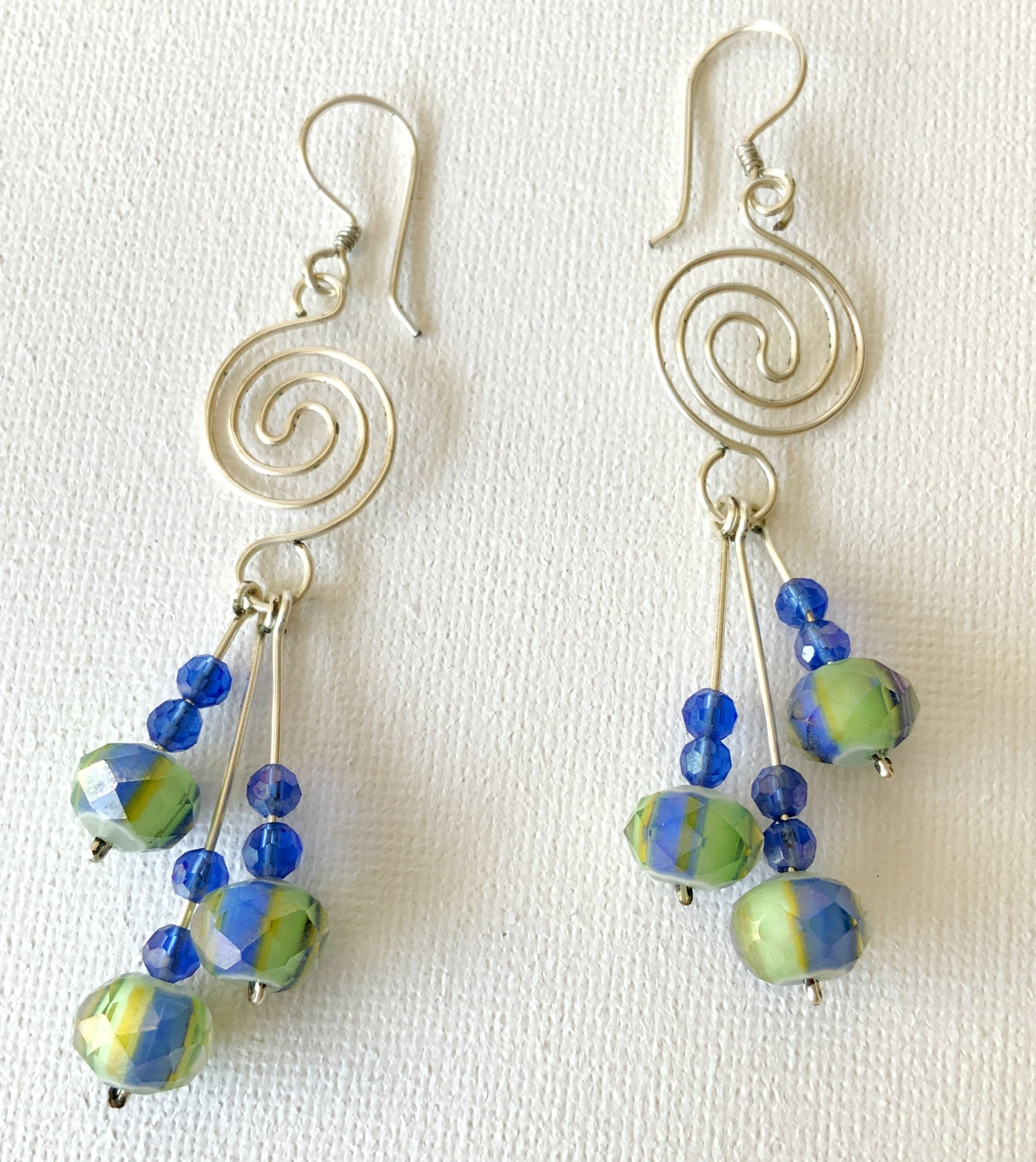 Multiple Drops Earrings with Spiral Wire Setting and French Hook