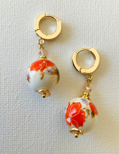 Oriental-Inspired Ball Drop Earrings