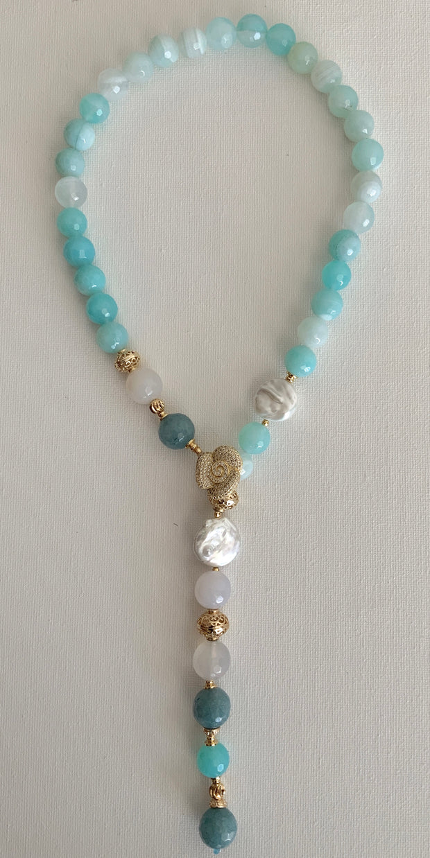 Agate and Pearls Drop Necklace