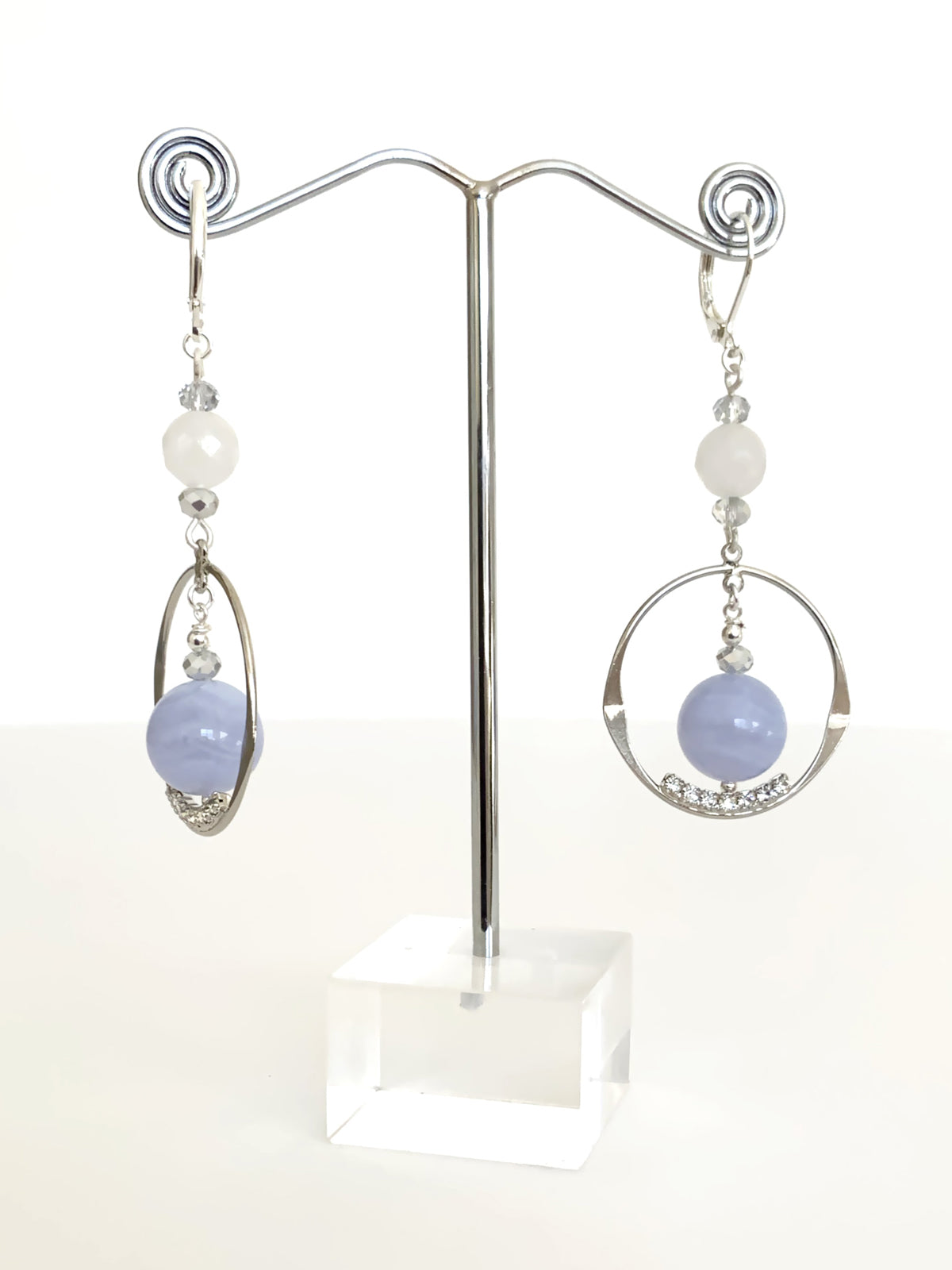 Blue Angelite Ball drop earrings