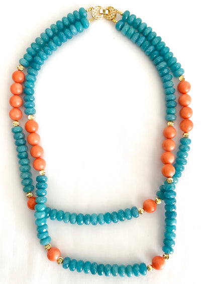 Blue Agate & Coral Double Strand Necklace
