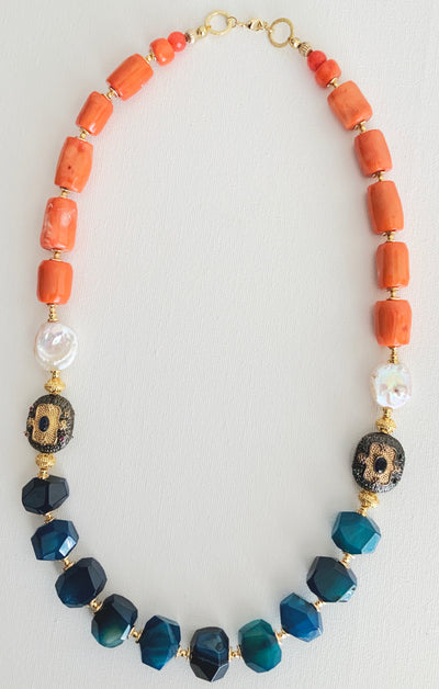 Empowering Blue Agate & Coral Necklace