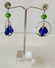 Blue Crystals Drop Earrings