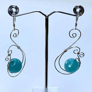 Double Spiral Wire Earrings with Gemstones
