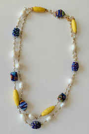 Colorful Yellow Gemstone Long Necklace