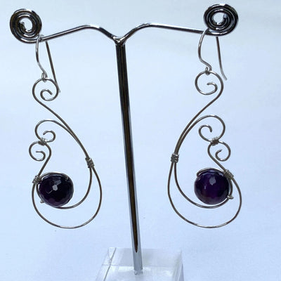 Double Curlique Wire with Gemstones Drop Earrings