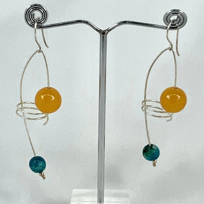 Floating Gemstones Hook Earrings