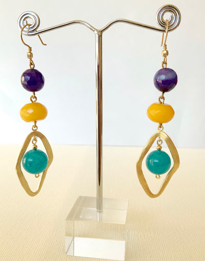 Multi-Colored Gemstones with Diamond-Shaped Hoop
